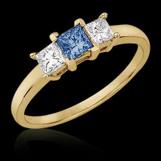 White blue diamonds 1.01 carat priness cut 3 stone ring