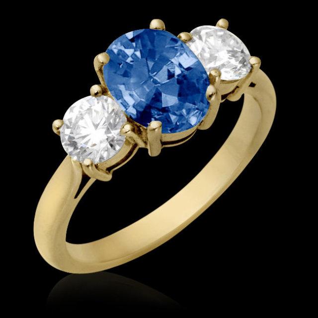 0.70 carat oval cut blue diamonds engagement ring new