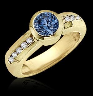 1.45 carats blue diamond engagement ring bezel setting