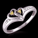 1 ct. yellow canary diamonds heart shape ring gold
