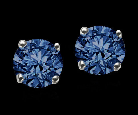 1.05 carats blue diamonds stud post earrings gold new