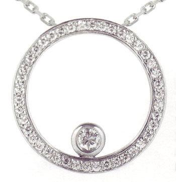 1.35 carats Bezel Set Diamond Pendant with round cut di