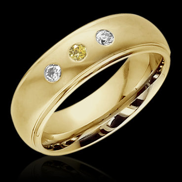 0.60 cts. Yellow canary diamonds 3-stone BAND ring gold