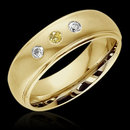 0.60 cts. Yellow canary diamonds 3-stone BAND ring gold