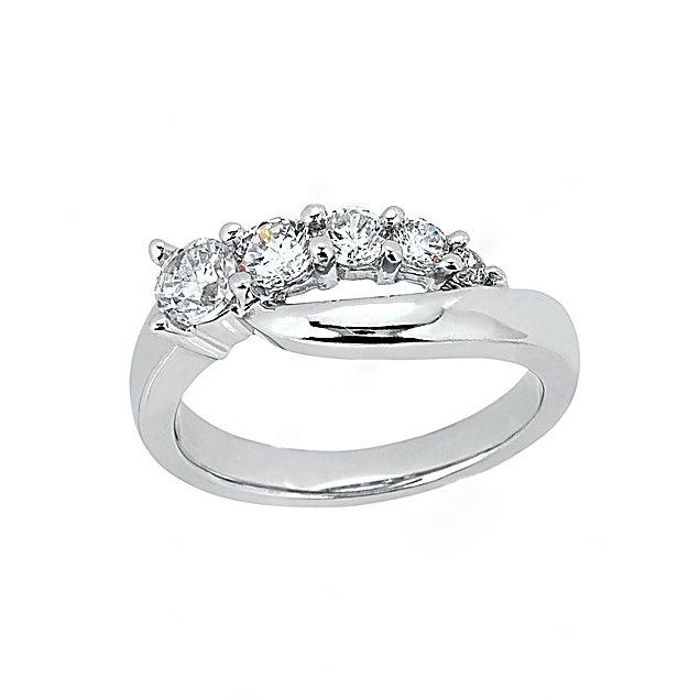 1 Ct. Diamond engagement ring 5 stone white gold ring