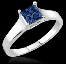 0.75 carat princess cut blue diamond engagement ring