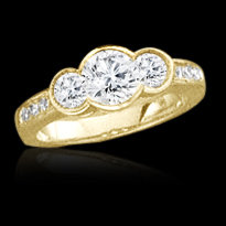 1.43 carat YELLOW GOLD 3 stone diamond ring engagement