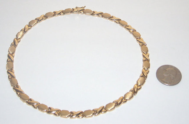 YELLOW GOLD 14K necklace choker style two tone finish