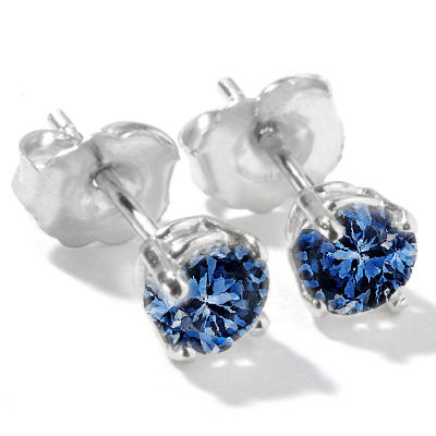 0.90 carat blue diamond stud post earrings pair gold
