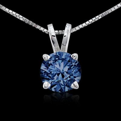 0.75 carat round blue diamond pendant locket gold new