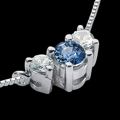 1.45 ct. white blue diamonds 3 stone pendant 14K gold