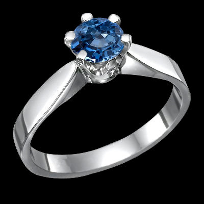 1 carat blue diamond solitaire ring 14K solid white