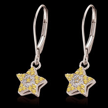 2 ct. fancy yellow diamonds star earrings lever backs
