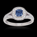 1.60 carat Radiant round blue diamond solitaire ring