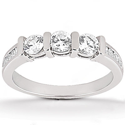 F VVS1 diamonds anniversary set gold ring 1.45 carat