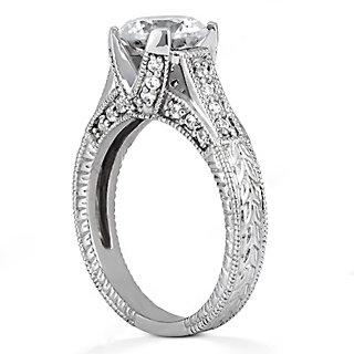 F VS1 Round diamonds ring engagement 1.43 carats gold