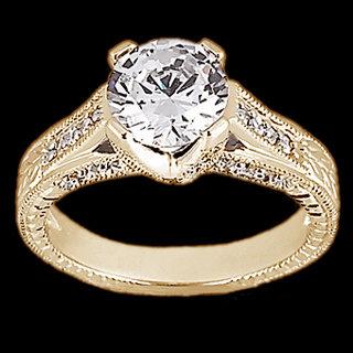 1.43 ct. Round diamonds ring engagement yellow gold new