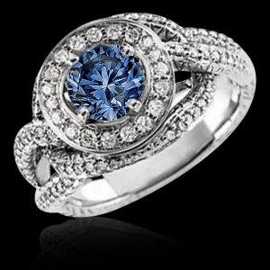 Blue round 1.75 ct. diamond engagement ring white gold