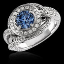 Blue round 1.75 ct. diamond engagement ring white gold