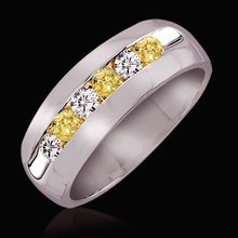 1.2 carat yellow & white diamonds anniversary band ring