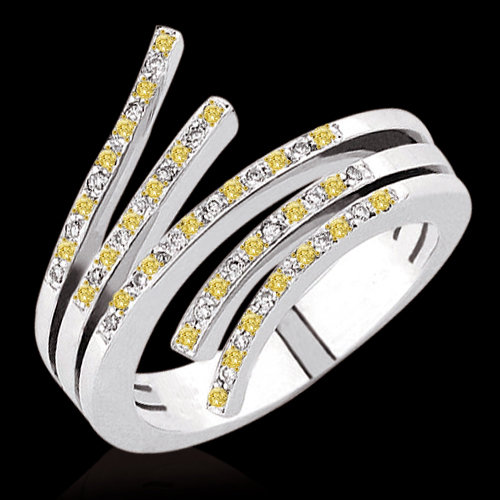 1.50 carat yellow canary & white diamonds ring gold new