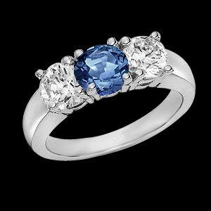 2.13 ct. blue diamonds three stone engagement ring new