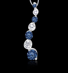 2 carat white blue diamonds journey earrings pair gold