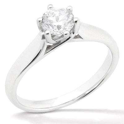 1.12 ct. Diamonds G SI1 solitaire 6 prong jewelry ring