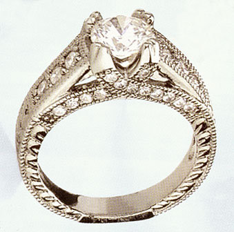 1.40 CARATS diamond solitaire ring accented antique sty