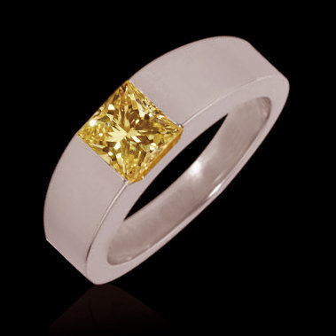 0.75 carat fancy yellow canary diamond solitaire ring