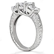 2.18 Ct. round DIAMOND RING three stone CUSTOMIZED
