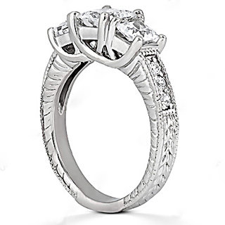 2.18 Ct. round DIAMOND RING three stone CUSTOMIZED