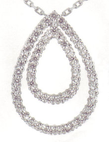 3.19 carats Diamond Pear Pendant WHITE GOLD necklace je