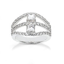 F VVS1 DIAMONDS RING 1.40 cts. jewelry white gold new