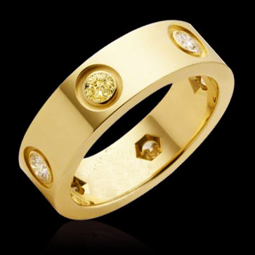White & yellow canary diamonds 2 ct. wedding ring band