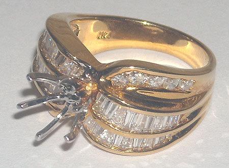 1.25 carat diamond ring yellow gold mounting semi mount