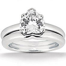Heart cut diamond 1 Ct. wedding band set solitaire ring