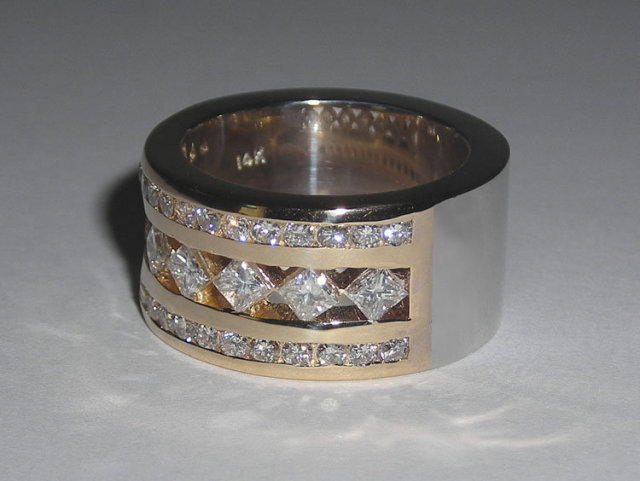 2.51 carats diamonds wedding ring band two tone ring