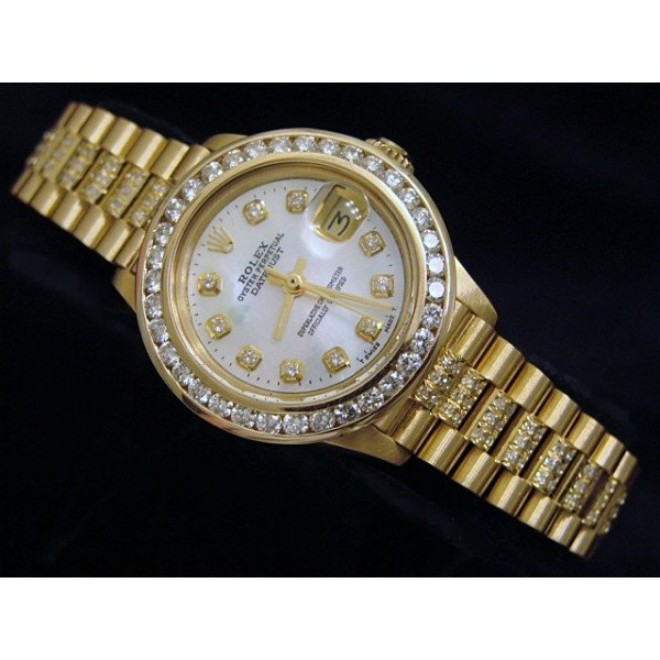 Rolex datejust gold lady watch diamond bezel date just