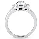 1.4 Ct. diamonds three stone ring emerald cut gold ring