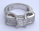 1.66 carats princess cut pave diamond engagement ring