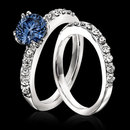 2.25 carat white blue diamonds engagement ring band set
