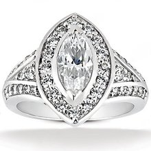 Diamond wedding ring maruquise cut diamonds 1.76 Ct.