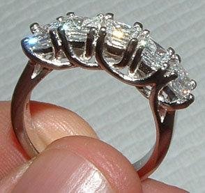 2.5 carat FIVE STONE DIAMOND RING band new princess cut