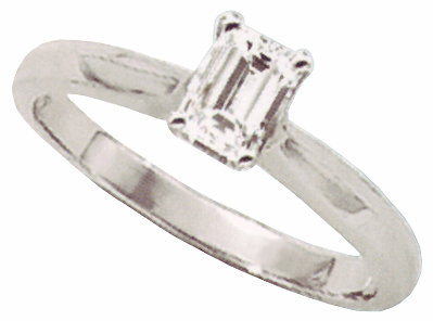 1 carat emerald cut diamond solitaire engagement ring