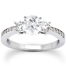 1.51 ct. diamonds 3 stone ring diamonds engagement band
