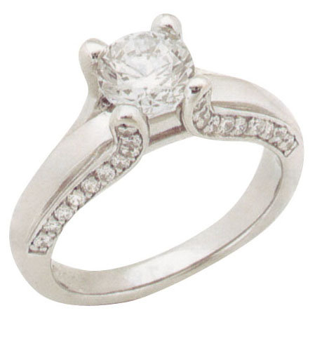 2 carats DIAMOND SOLITAIRE antique look ring gold new