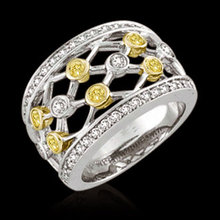 Yellow canary & white diamonds 2 carats Lattice ring