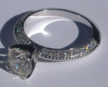 2.01 carats round micro pave diamond engagement ring
