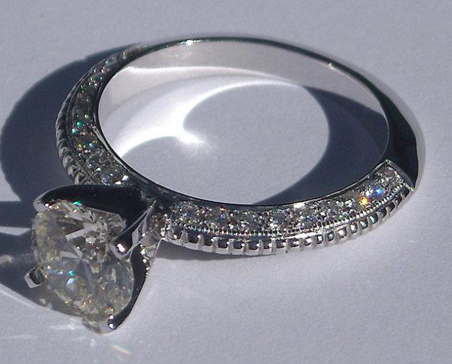2.01 carats round micro pave diamond engagement ring